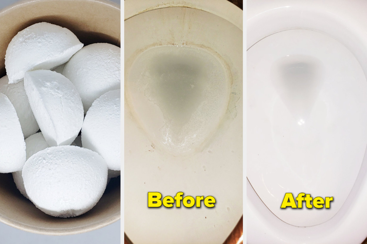 three photos including one with small white tablets shaped like snowballs on the left, a before image of a dirty toilet in the middle, and an after image of the same toilet now sparkling clean on the far right
