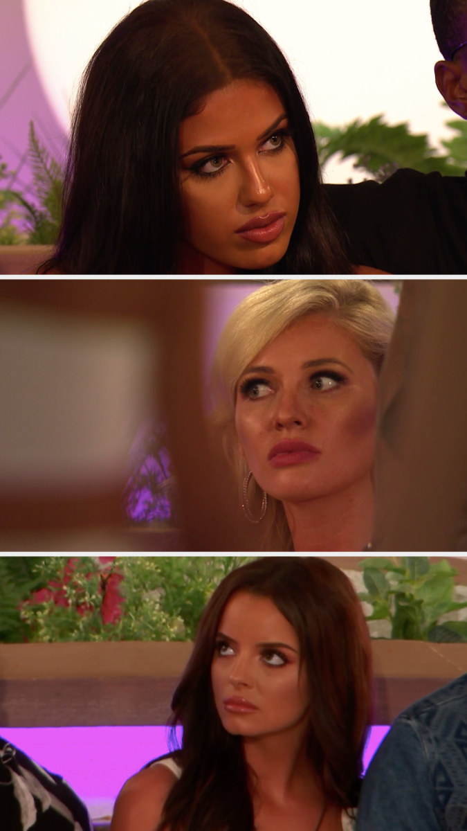 """Anna, Amy, and Maura from """"Love Island UK"""" series 5 looking worried and angry"""