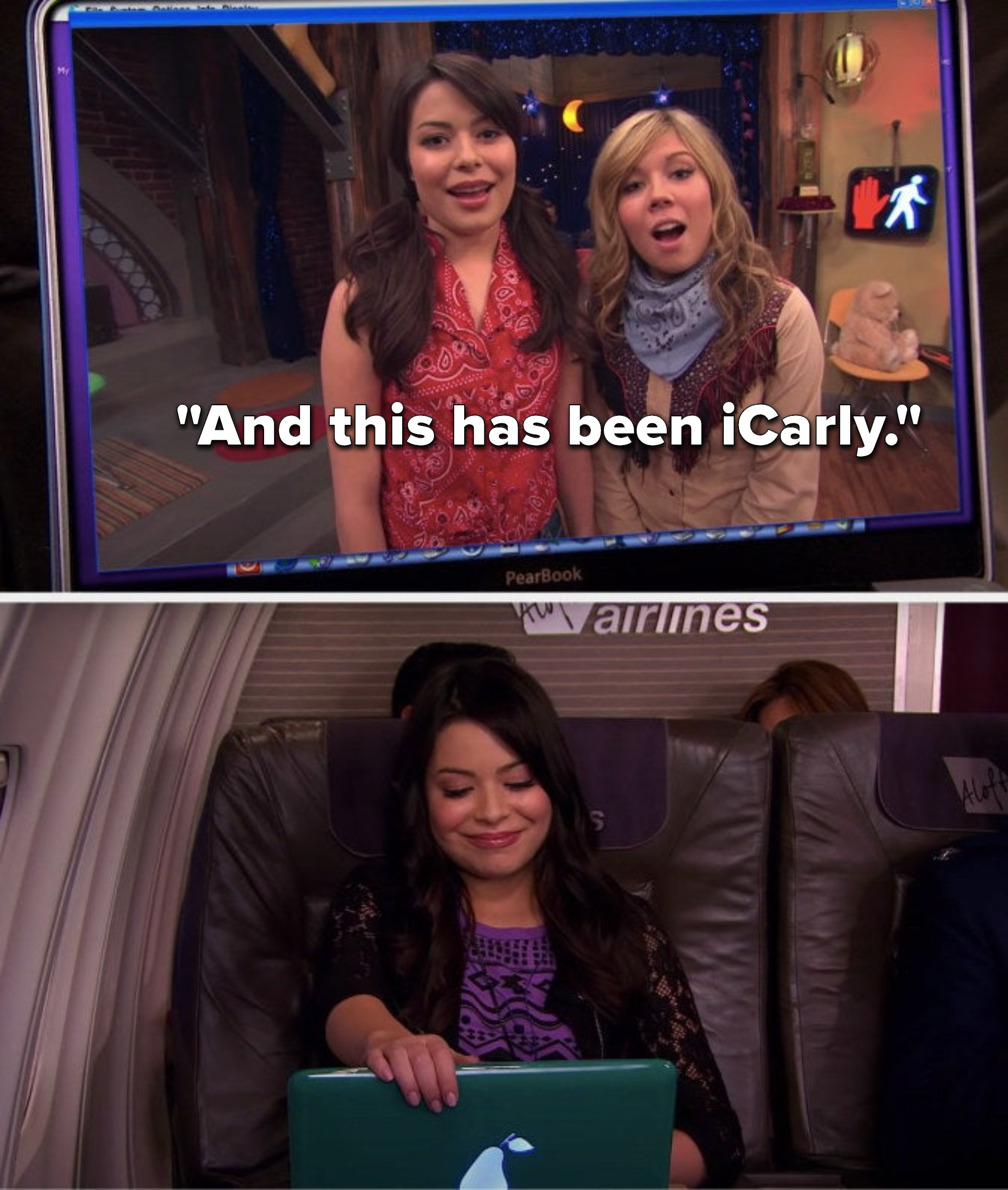 """On a webcast, Carly and Sam say, """"And this has been iCarly"""" and Carly closes the computer while she watches this later"""