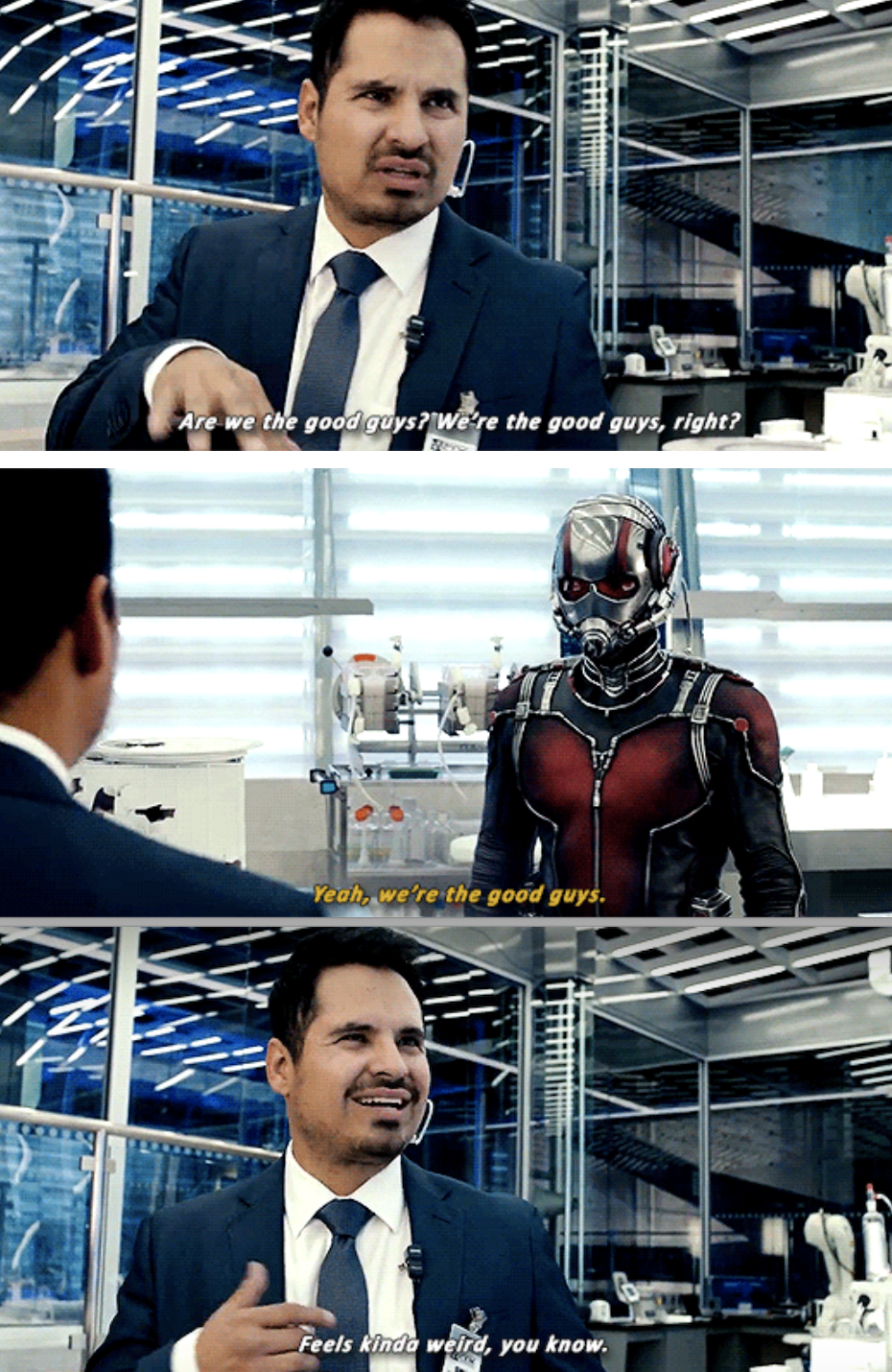 Luis talking to Ant-Man in the lab