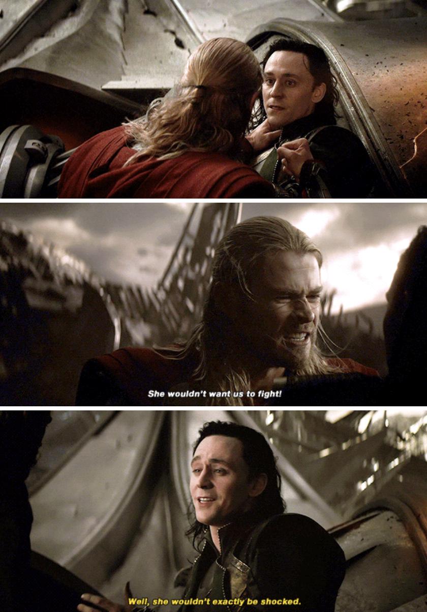 Thor and Loki fighting in Asgard