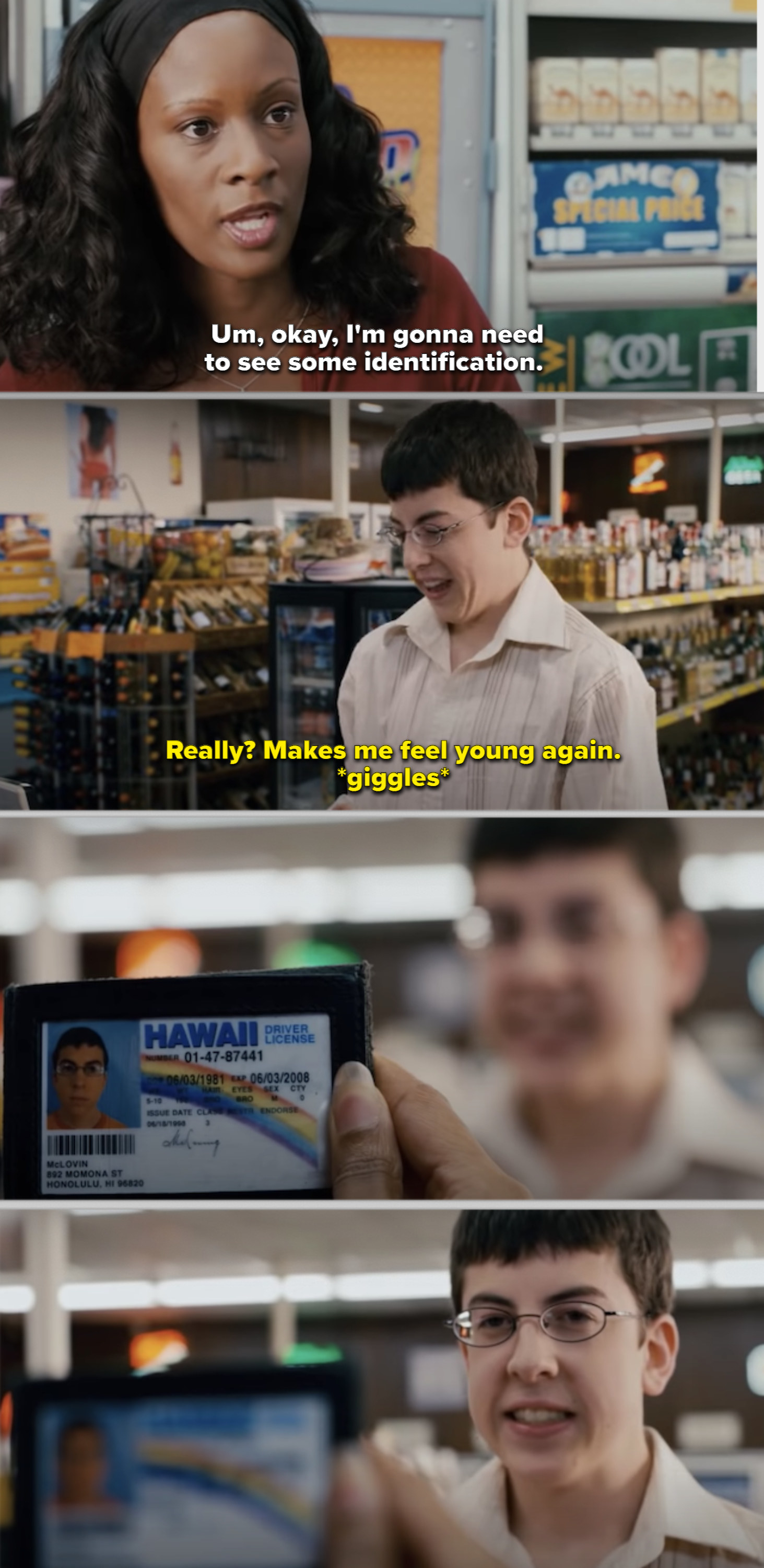 McLovin trying to buy beer at a convenient store