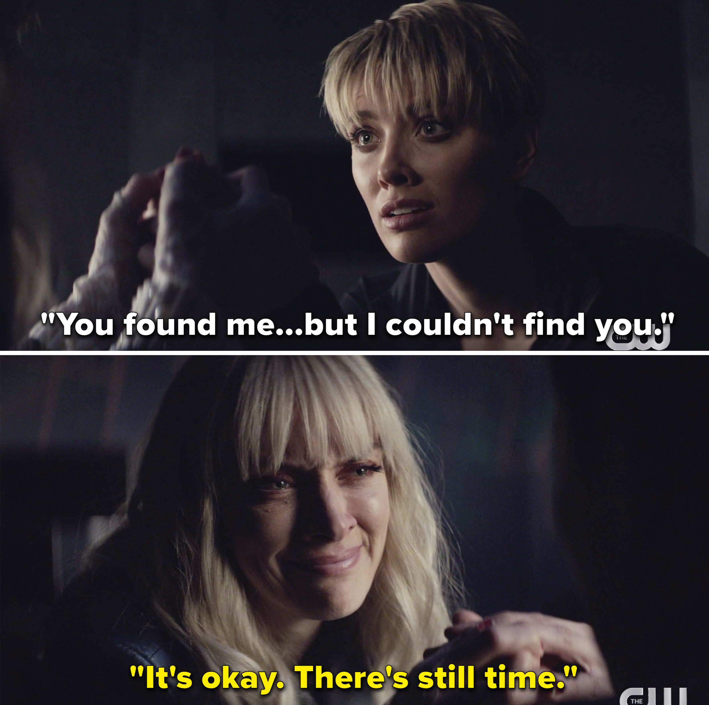 """Kate saying, """"You found me, but I couldn't find you,"""" and Alice responding with, """"It's okay. There's still time"""""""