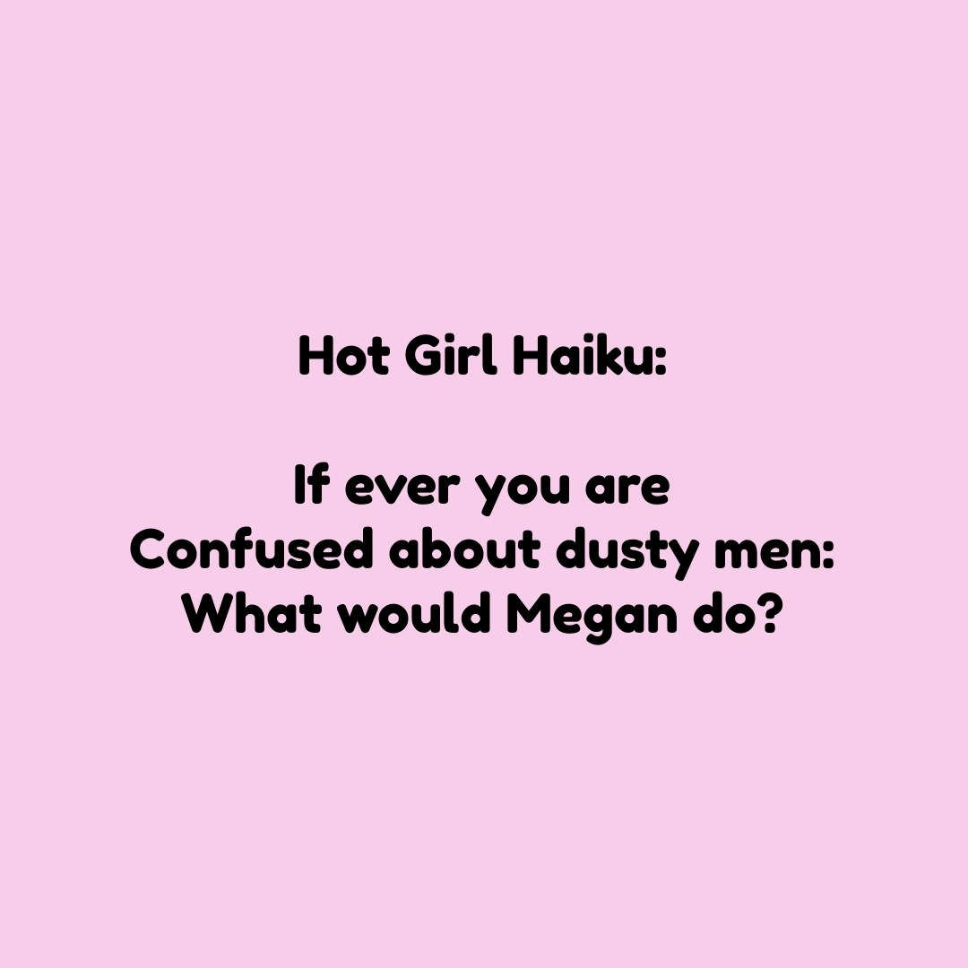 if ever you are confused about dusty men: what would megan do?