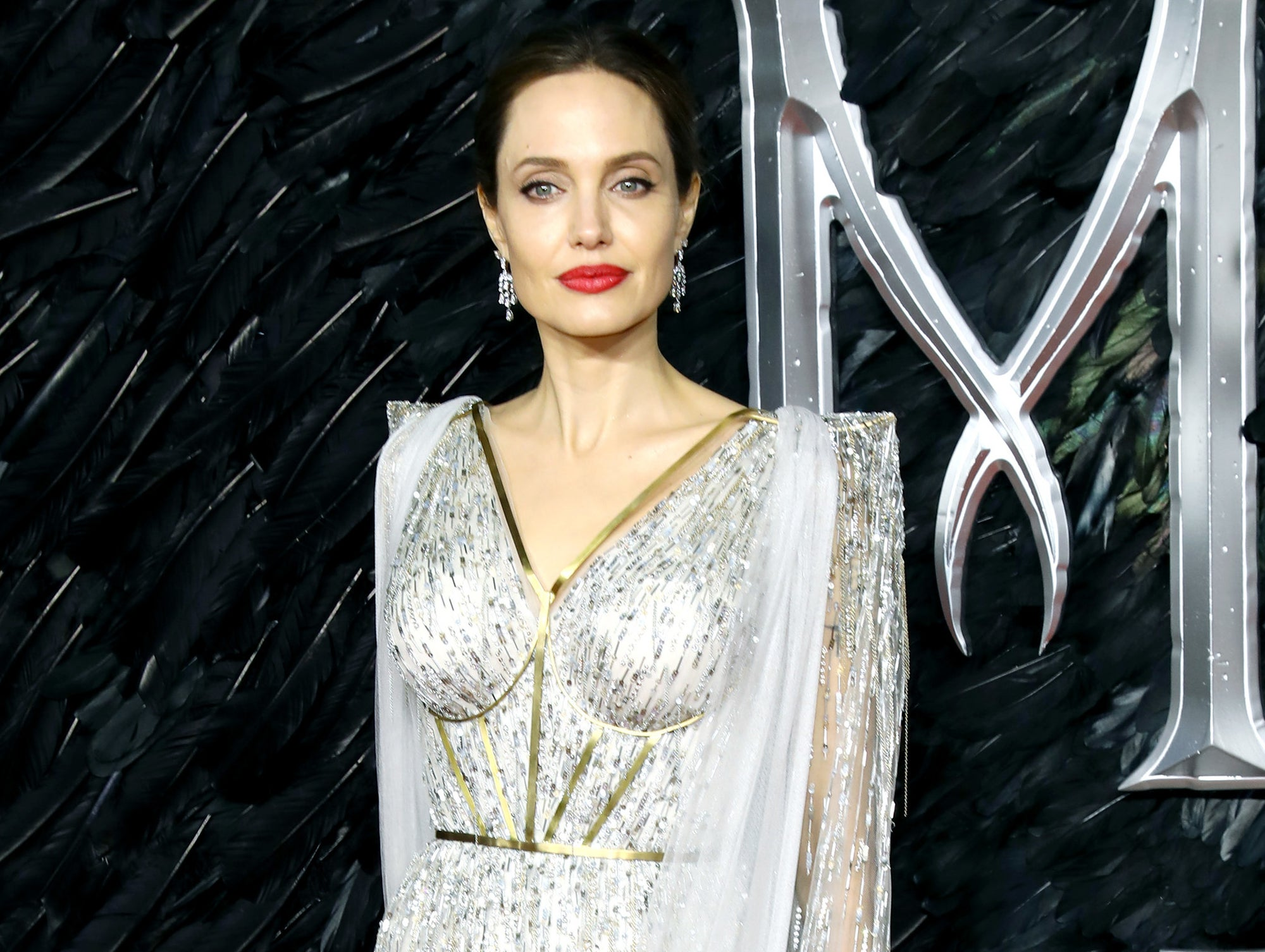 Angelina looks serious while posing in a silver dress with sheer sleeves