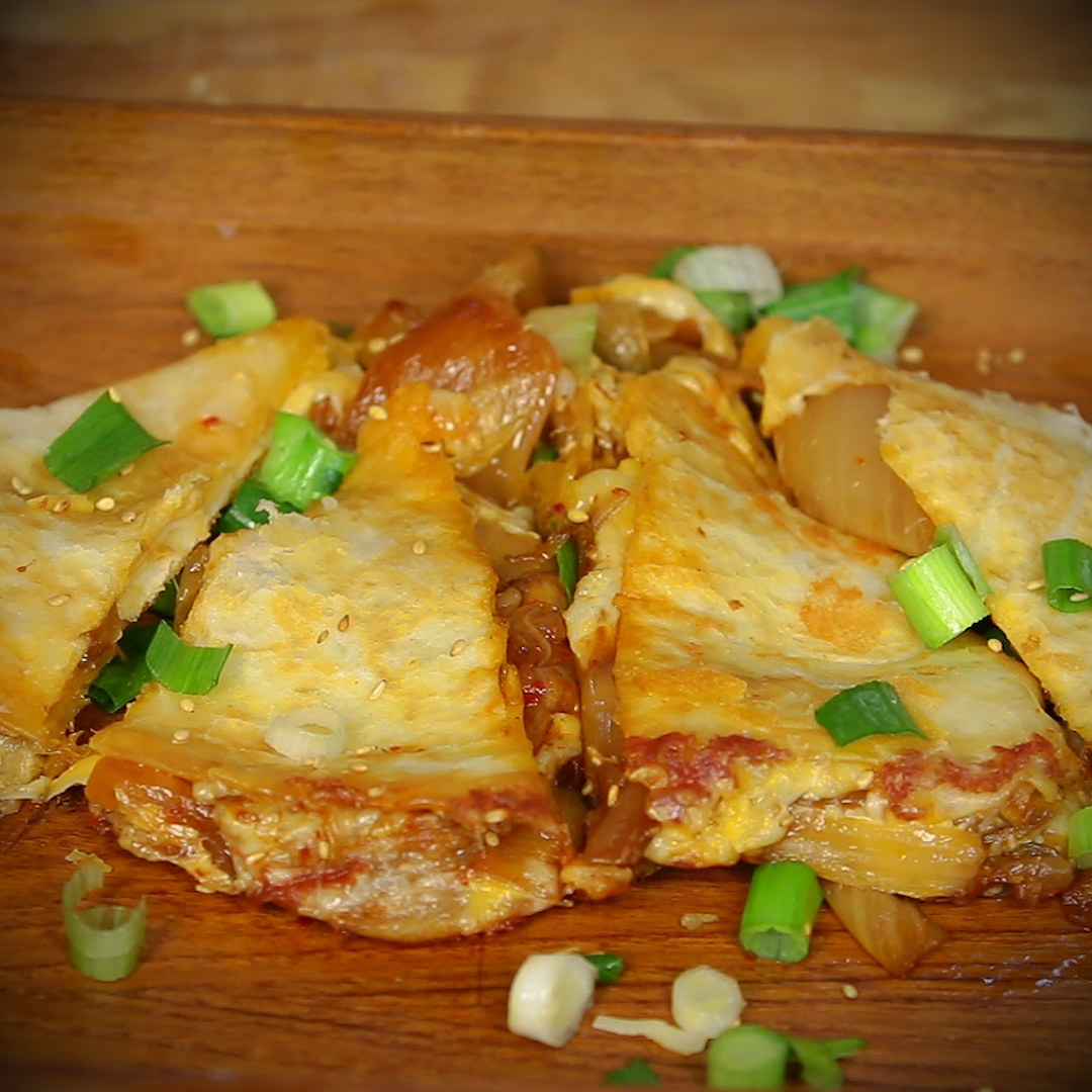 Quesadillas topped with green onions
