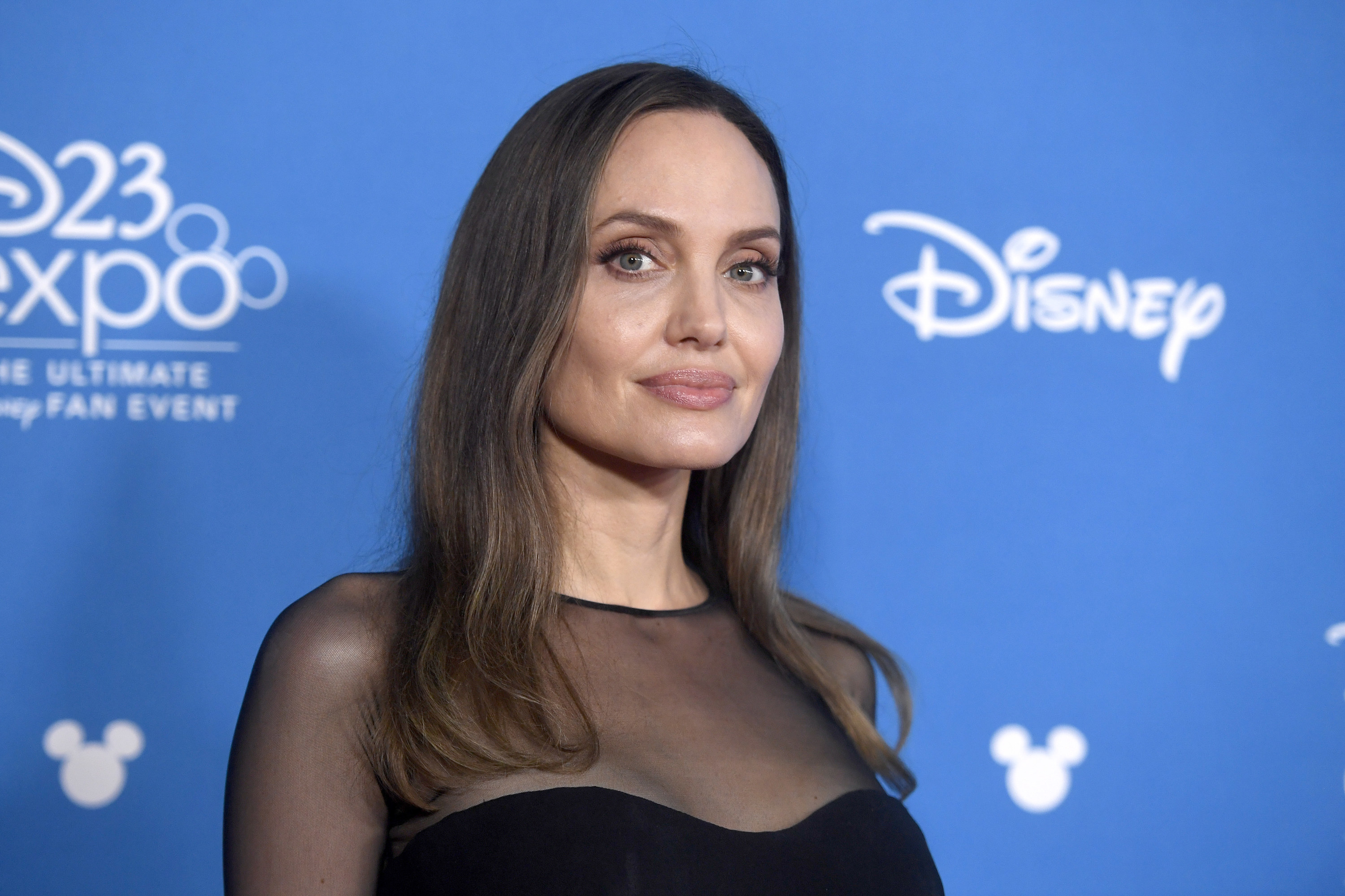 Angelina looks at the camera while wearing a black sheer top