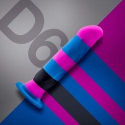 D6 Electra blue, pink and black stripe dildo