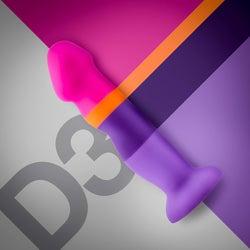 D3 Summer Fling pink, orange and purple stripe dildo