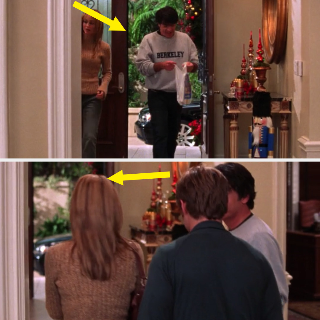 Kirsten and Sandy walking through the door without opening it