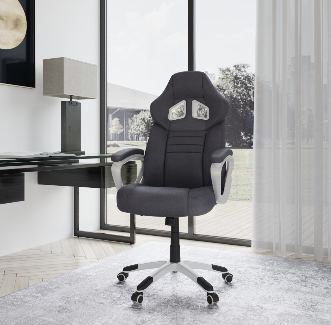 the rolling arm office chair in black
