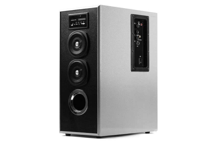 OBAGE MT-600 Home Theater Bluetooth Speakers Tower in silver.