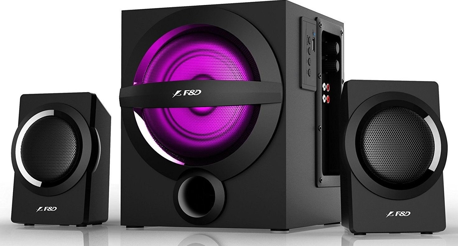 F&D A140X speakers in black with purple LED lighting.
