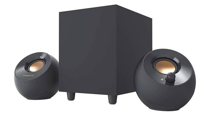 Creative Pebble Plus speakers in black.