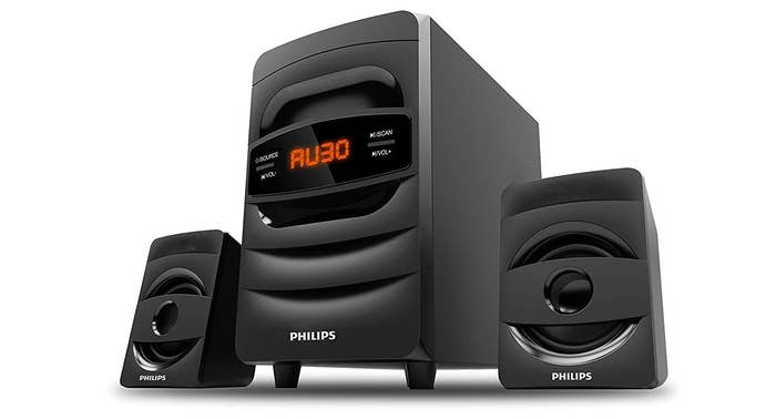 Philips Audio MMS2625B speakers in black.