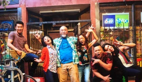 The cast of 'Kim's Convenience' make silly faces and poses for the camera
