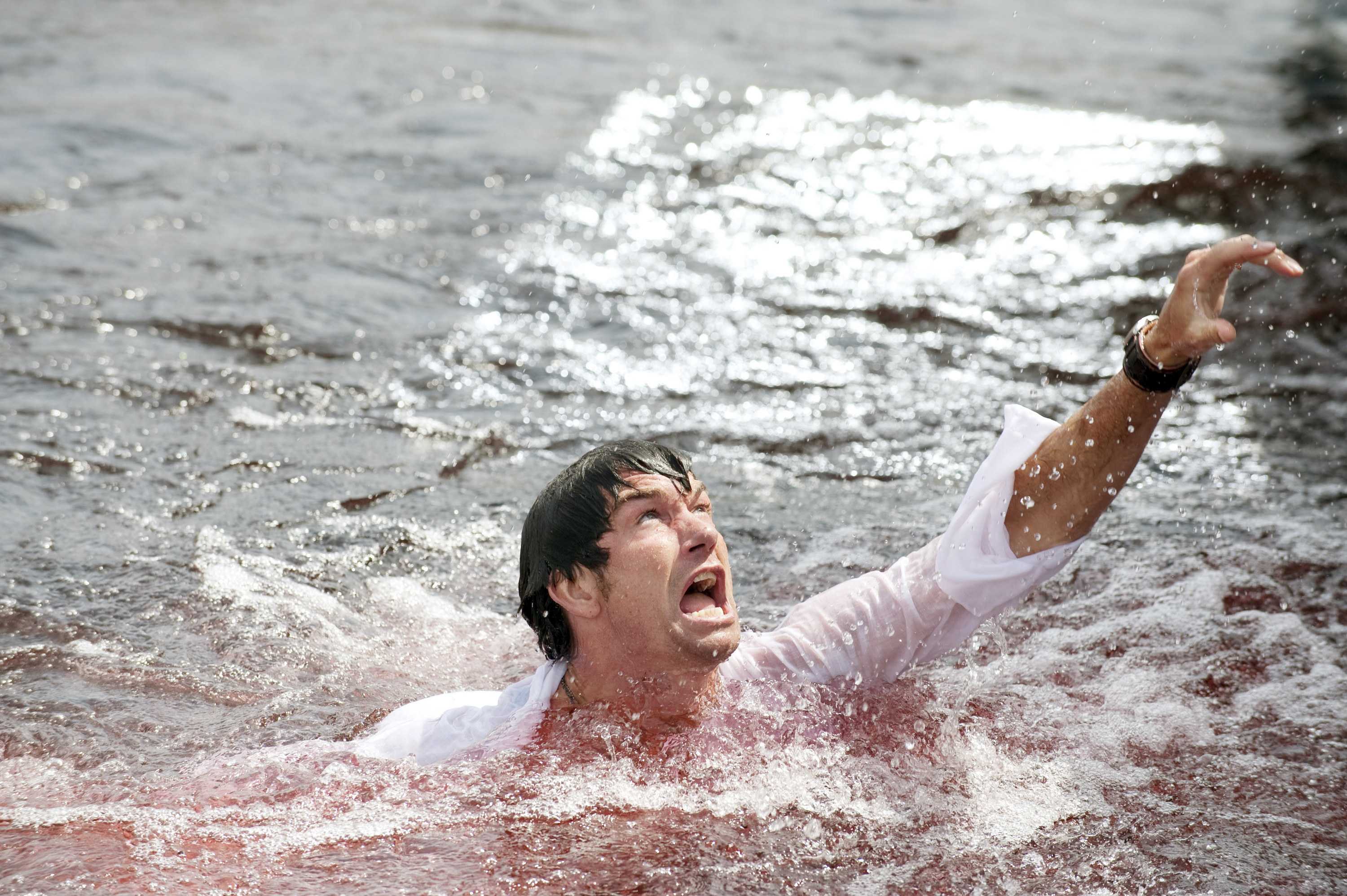Jerry O'Connell swims in bloody water