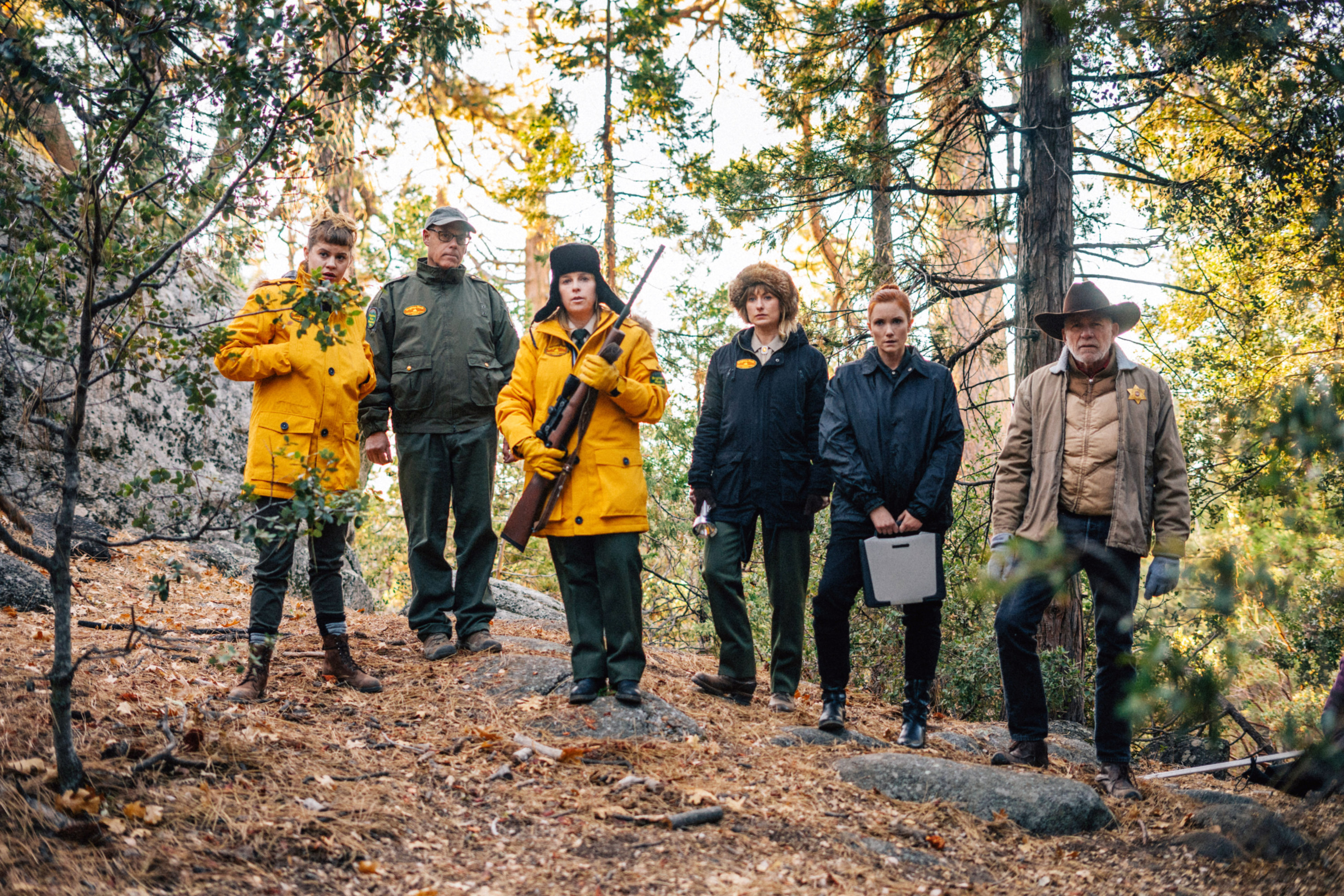 A crew of park rangers look into the forest