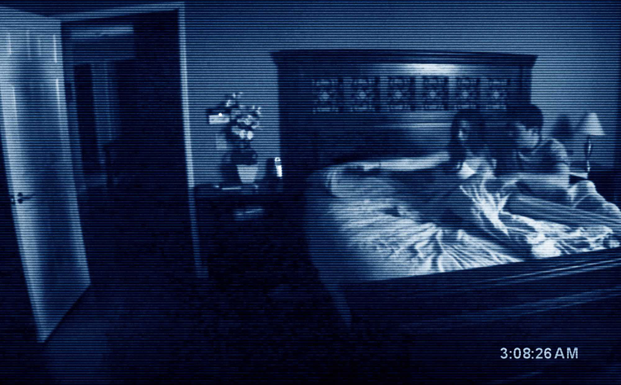 A couple in bed on a grainy nightvision camera
