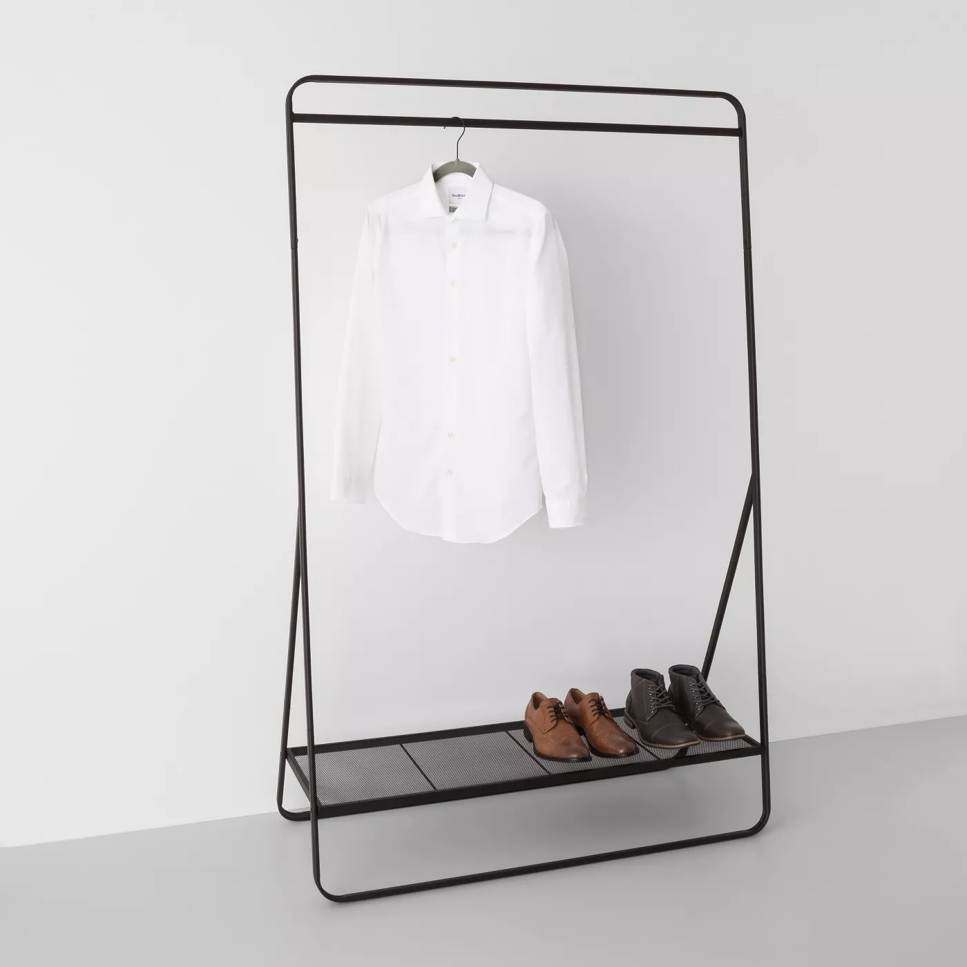 A metal garment rack