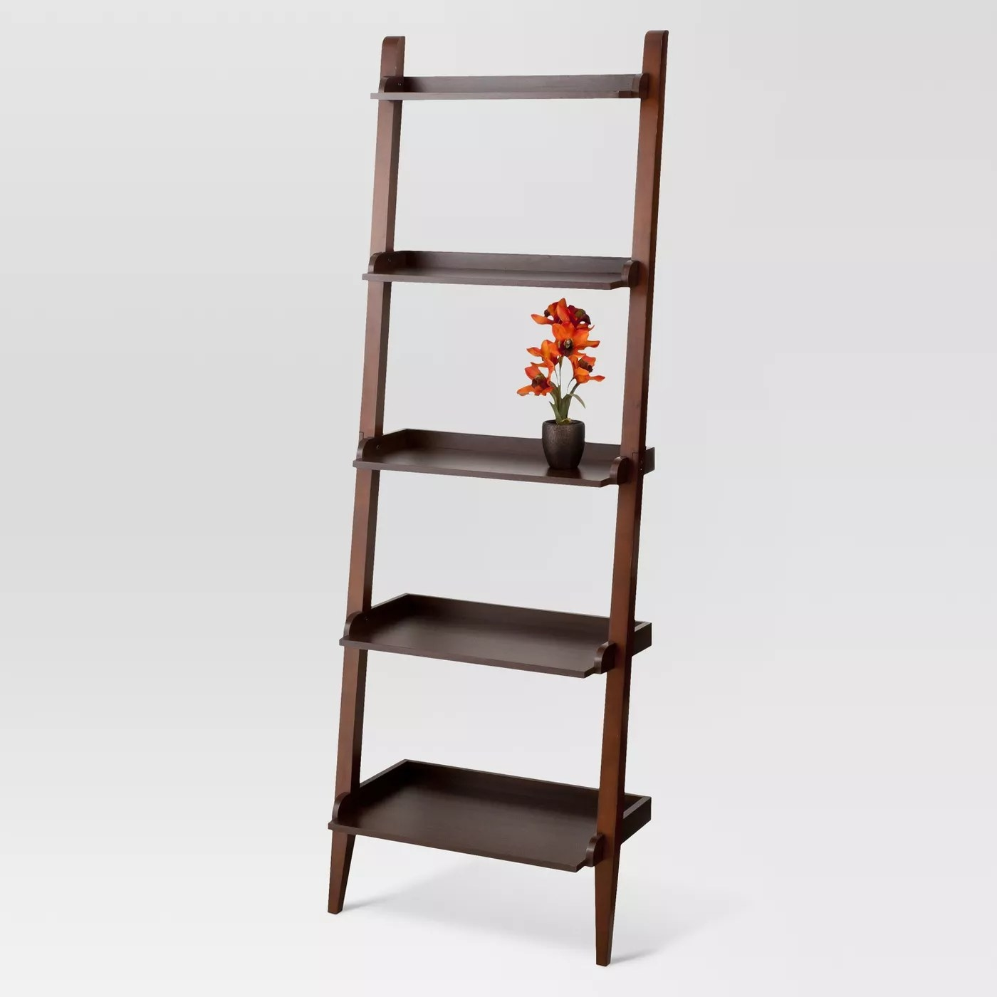 A leaning bookcase