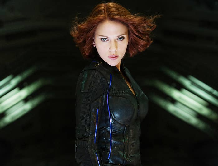 Black Widow turns and her hair flies in the wind