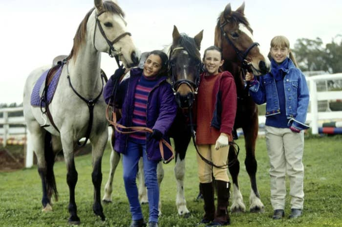 """Lara Jean Marshall, Sophie Bennett and Keenan MacWilliam with their horses in """"The Saddle Club"""""""