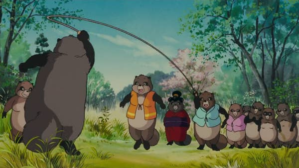 Japanese raccoon dogs playing skipping with a rope