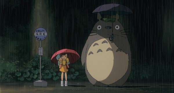 Totoro standing at the bus stop