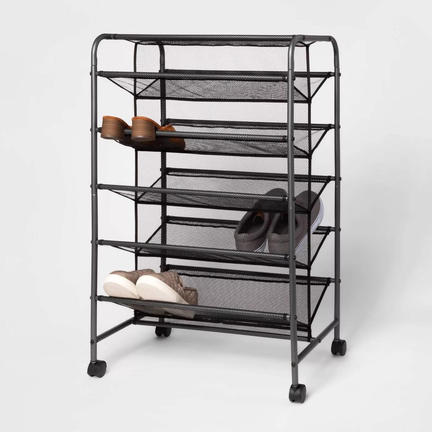 A double-sided shoe rack