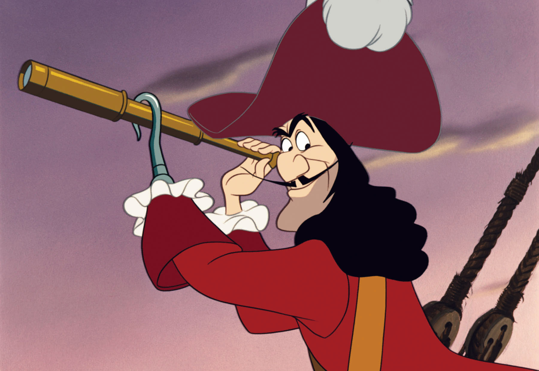 Captain Hook peers out of a spyglass