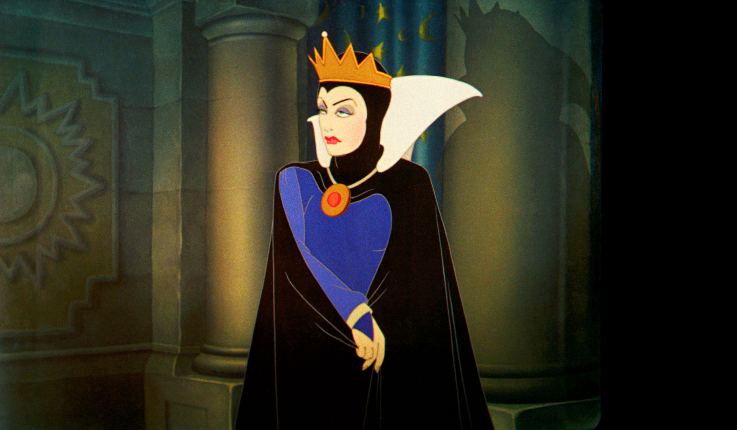 The Evil Queen in her crown and cape