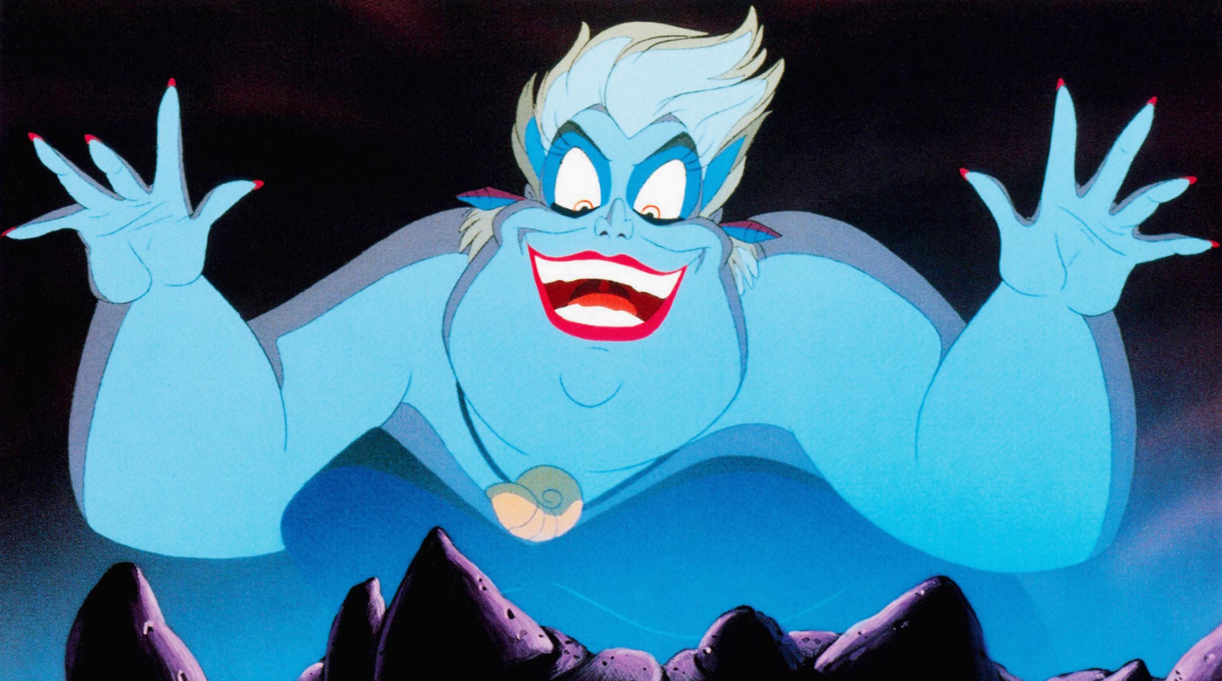 Ursula sings in blue light