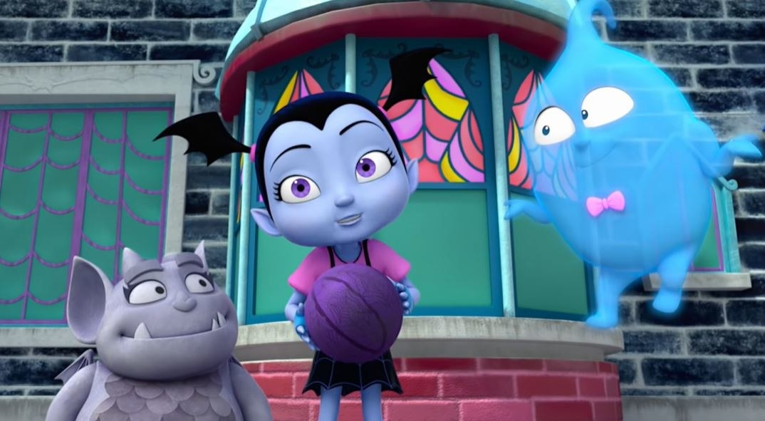 animated gargoyle, vampire girl, and ghost with relaxed faces