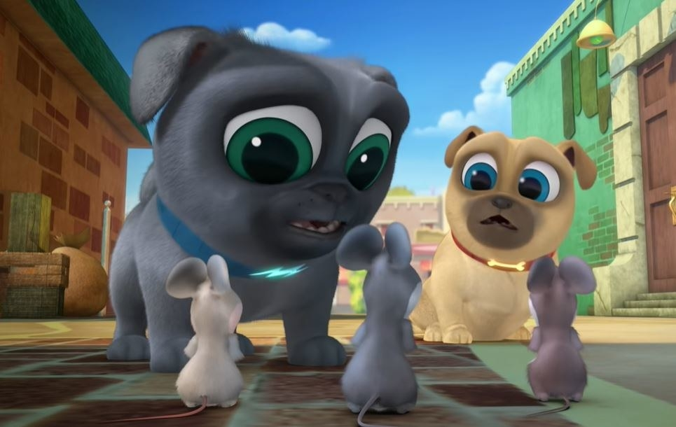 Two puppies from Puppy Dog Pals talk with three mice