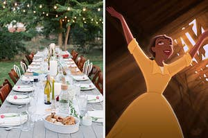 """On the left, a long dinging table outside under trees with fairy light strings, and on the right, Tiana from """"The Princess and the Frog"""" with her arms raised up in the air and a smile on her face"""