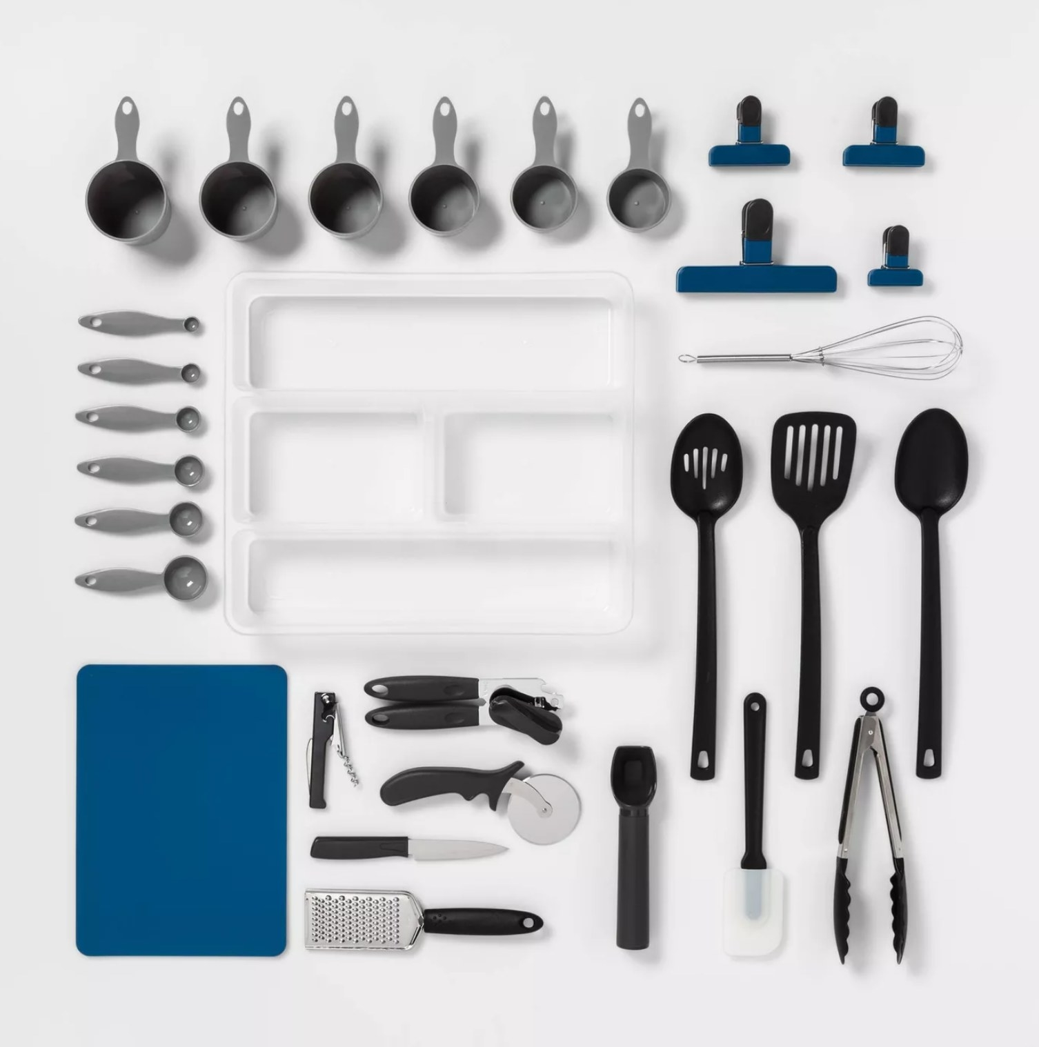 the whole kitchen utensil set laid out