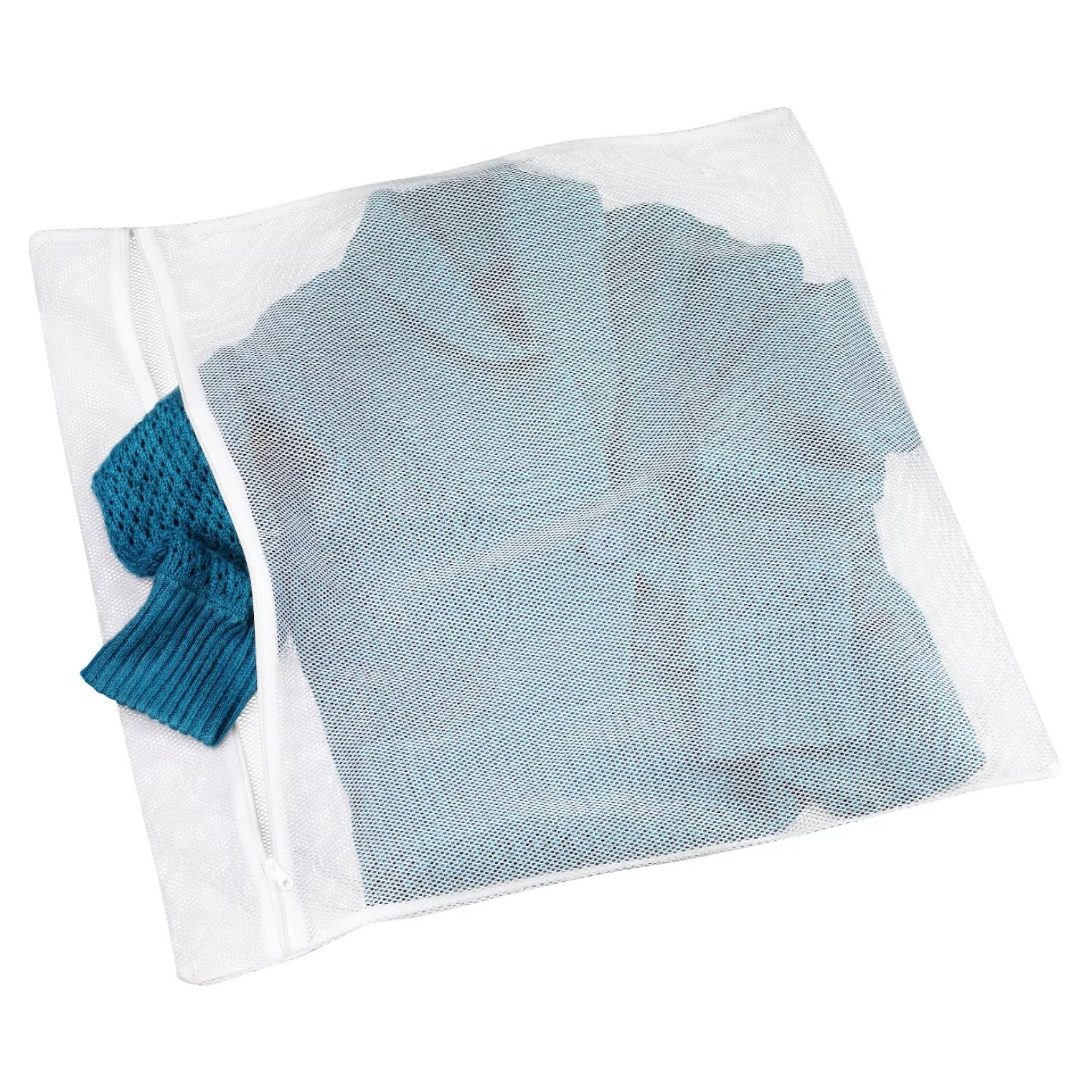 the mesh bag with a sweater in it