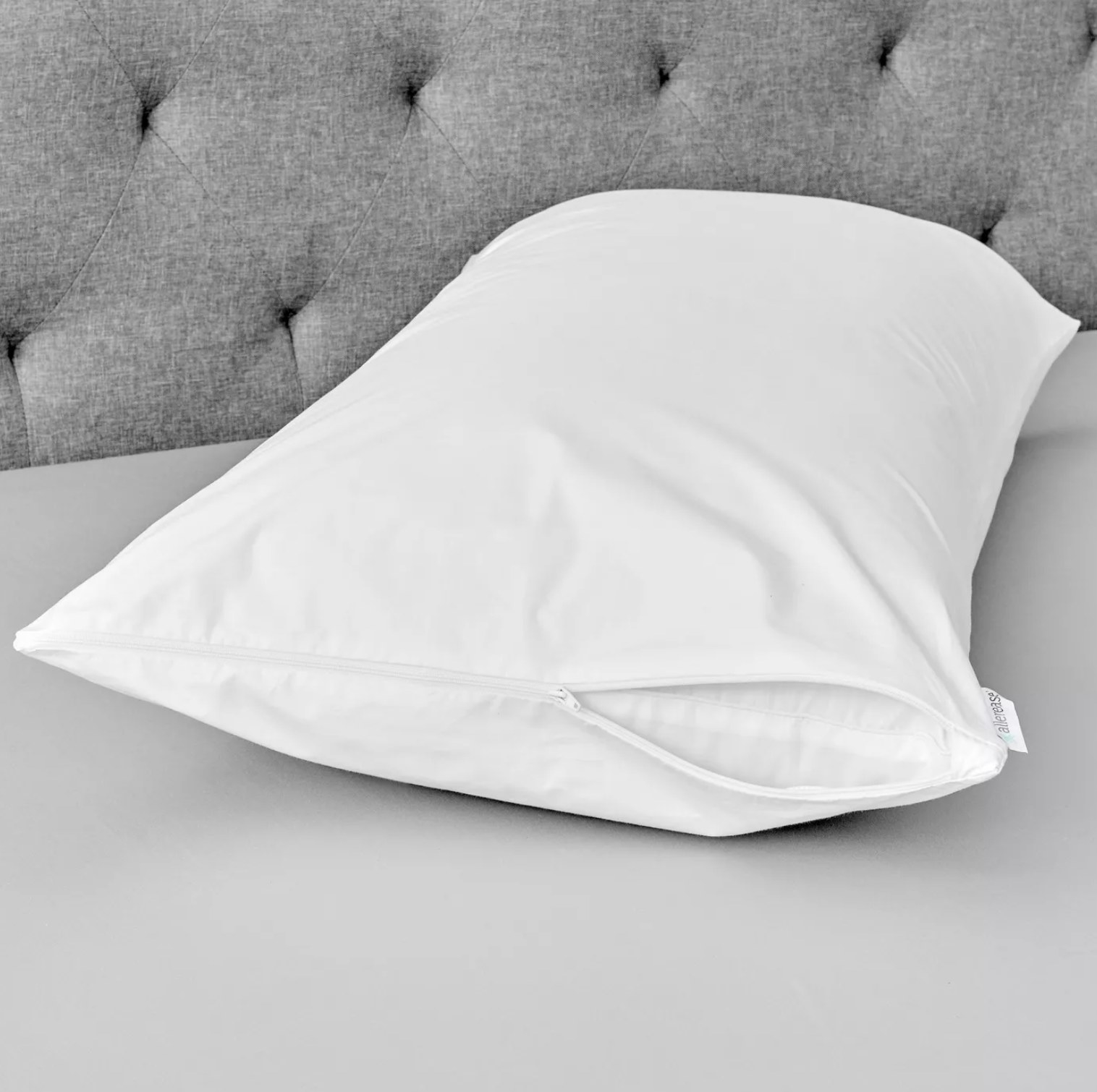 the pillow protector on a pillow