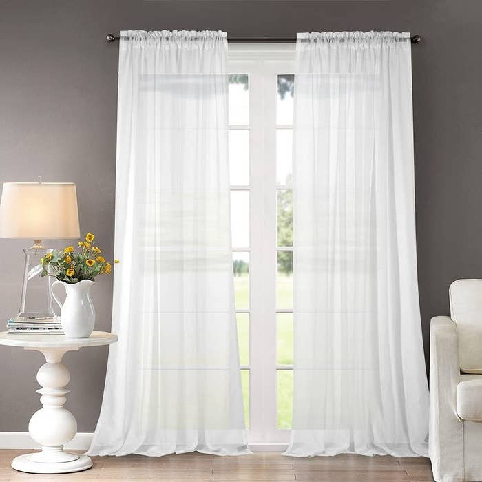 The sheer white curtains