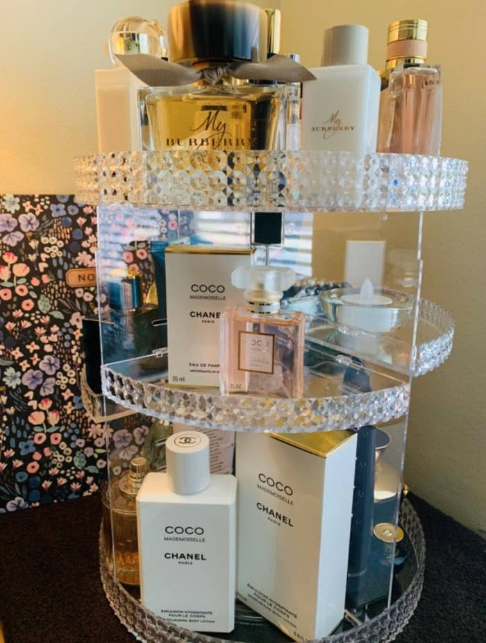 The beauty organizer filled with reviewer's products