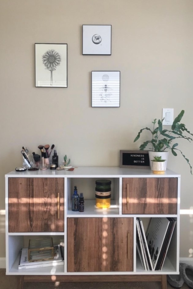 The white and wood cabinet in a reviewer's home