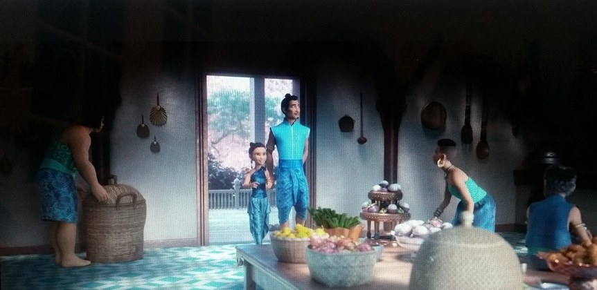 Raya and her father, Chief Benja, walk into the kitchen, which has mangosteens and dragon fruit