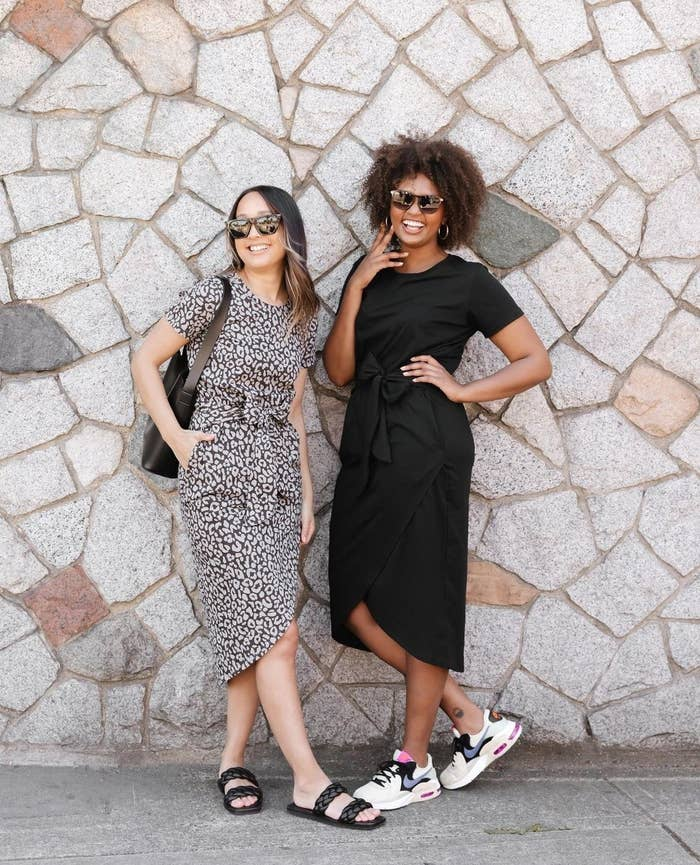 Two people wearing T-shirt dresses