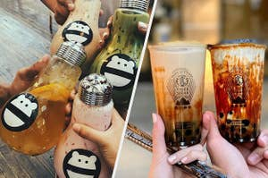 A variety of boba drinks, on the left features fruity and milk tea boba in a glass jar shaped like a lightbulb, on the right features two milk tea boba drinks with brown sugar