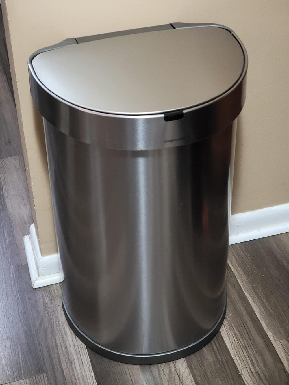 Reviewer's photo of the trash can in the color Brushed Stainless Steel