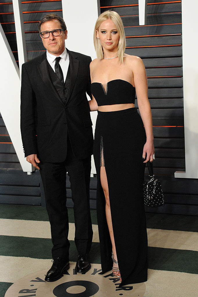 David O. Russell and Jennifer Lawrence at the Vanity Fair Oscar party in 2016