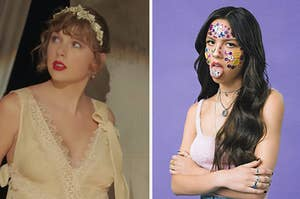 """On the left, Taylor Swift in the """"Willow"""" music video, and on the right, Olivia Rodrigo with stickers all over her face on the """"Sour"""" album cover"""
