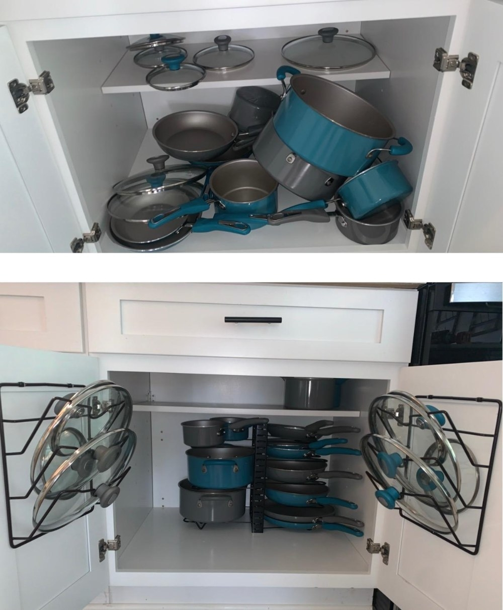 Reviewer's before-and-after photos of a disorganized cabinet with pots and lids everywhere, and an organized one with the pot lid holders mounted to the cabinet doors