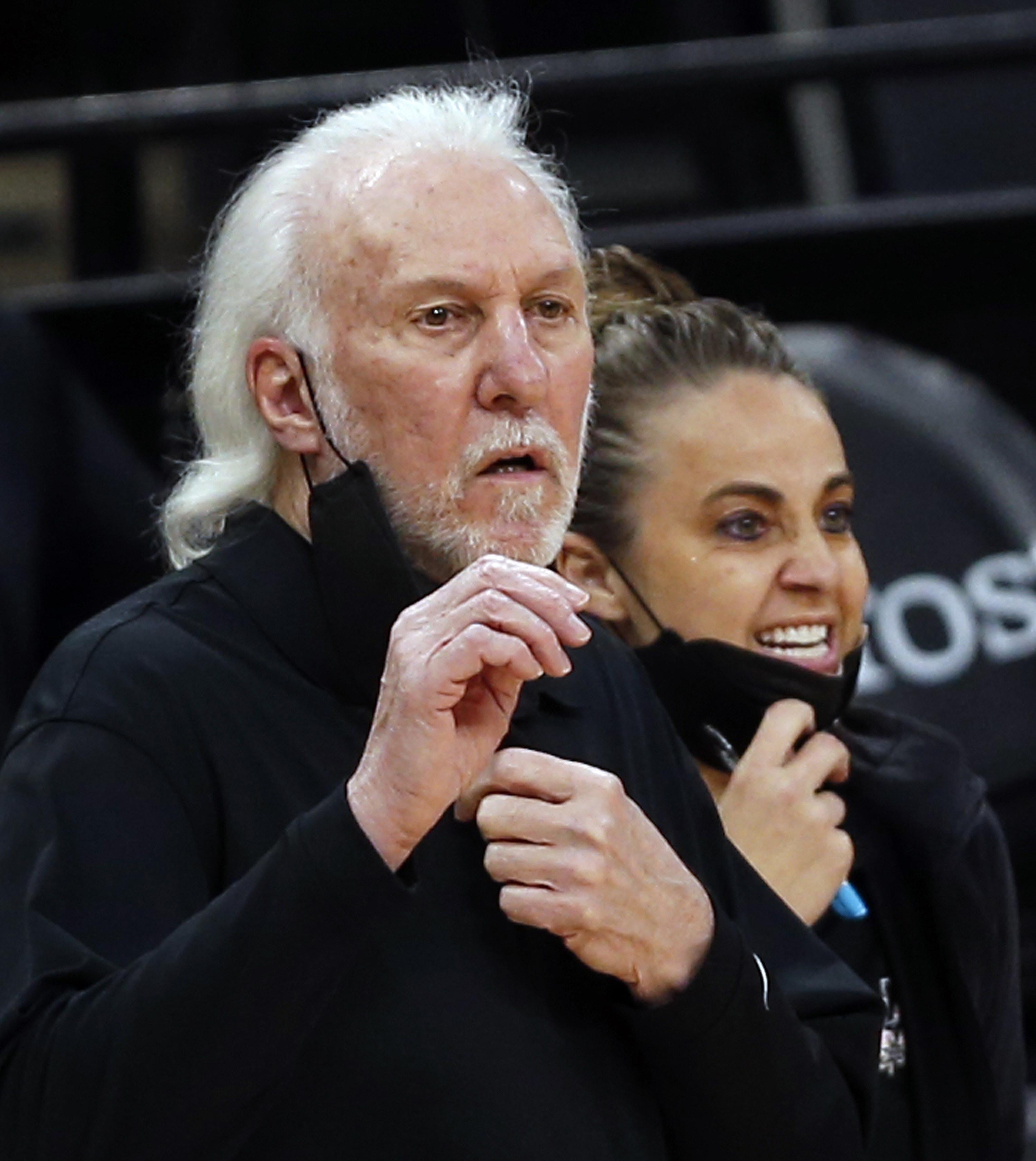 Gregg Popovich and Becky Hammon coaching